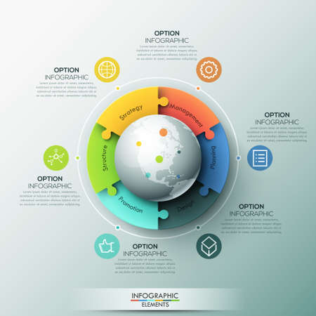 Modern infographic design layout, 6 connected jigsaw puzzle pieces located around globe Illustration