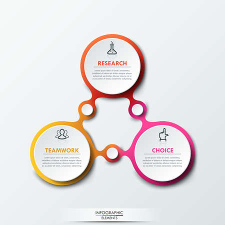 triangular: Infographic design template with 3 connected circular elements Illustration