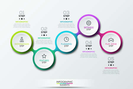 Infographic design template with 5 connected circular elements