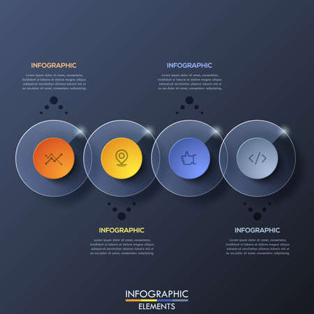 overlapped: Infographic design template with 4 overlapped transparent circular elements on dark background