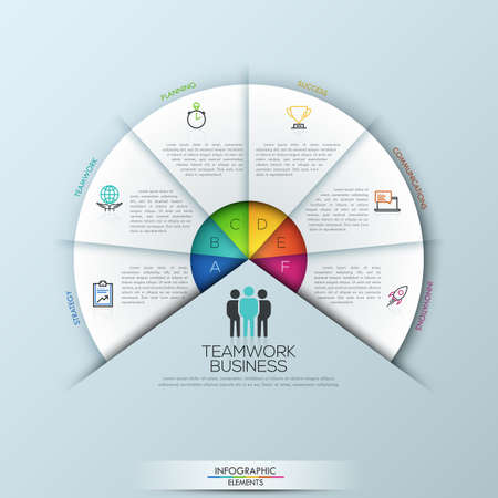 Circular infographic design template with 6 sectoral elements