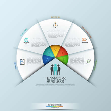 sectoral: Rounded infographic design layout with 5 sectoral elements connected