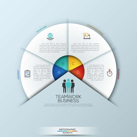 sectoral: Circular infographic design template with 4 sectoral elements Illustration