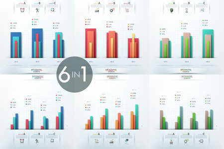 Set of 6 infographic design templates with histograms Illustration