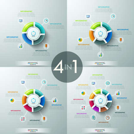 circular: Set of 4 circular infographic design templates