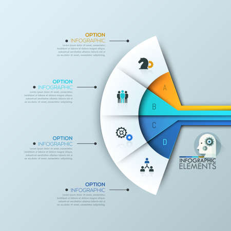 sectoral: Modern infographic design template 4 connected sectoral lettered elements Illustration