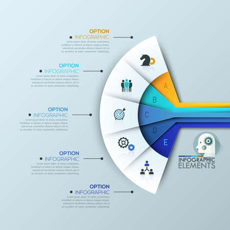 sectoral: Creative infographic design layout, 5 connected sectoral lettered elements Illustration