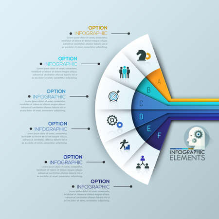 Unusual infographic design template, 6 multicolored sectoral lettered elements