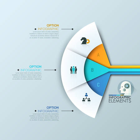 sectoral: Modern infographic design layout, 3 connected sectoral lettered elements