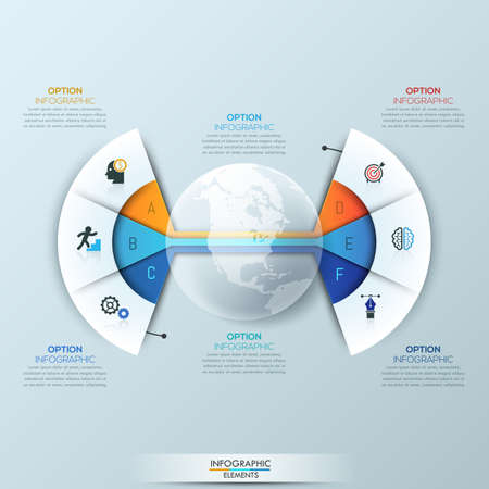 sectoral: Modern infographic design template, 2 connected fan charts with 6 sectoral lettered elements