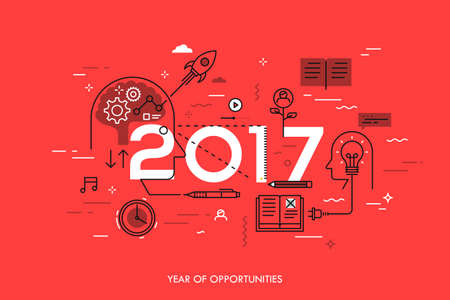 Infographic concept, 2017 - year of opportunities. New trends in idea generation, time management, experience exchange, self-education and self-development