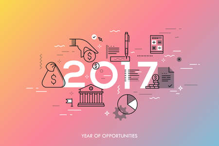 Infographic concept, 2017 - year of opportunities. New hot trends and predictions in economics, budget planning, money saving, tax and credit debt paying off