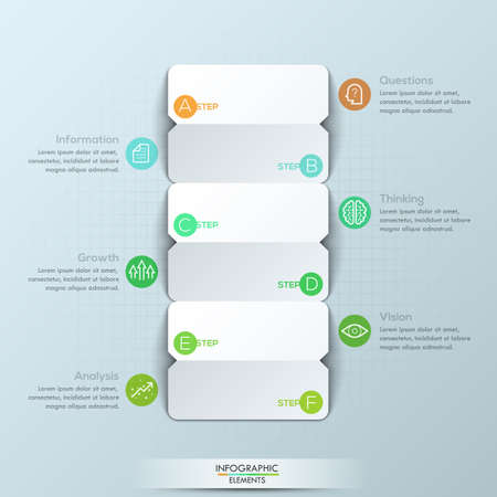 Modern Infographic Design Template 3 Double Sided Paper Cards
