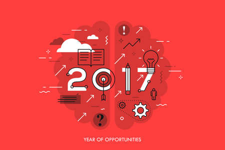 project plan: Infographic concept 2017 year of opportunities Illustration