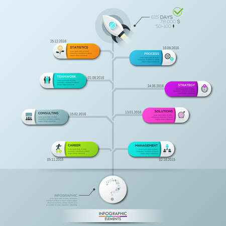 Infographic design template, vertical tree diagram with 8 connected elements and text boxes
