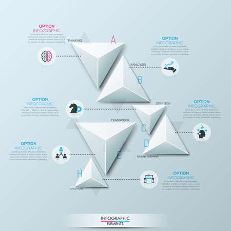 Infografische ontwerpuitleg met 6 aparte driehoekige elementen van wit papier