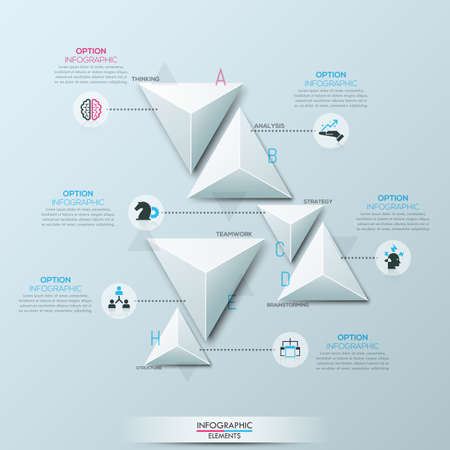 Infographic design layout with 6 separate white paper triangular elements Illustration