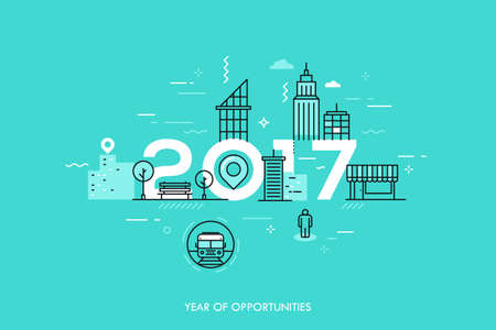 dweller: Infographic concept 2017 year of opportunities Illustration