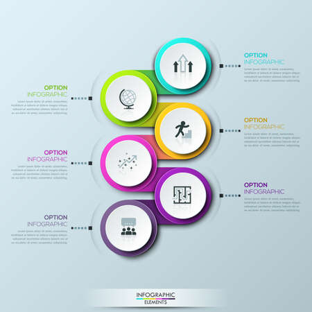 successively: Infographic design template with 6 multicolored successively connected circular elements Illustration