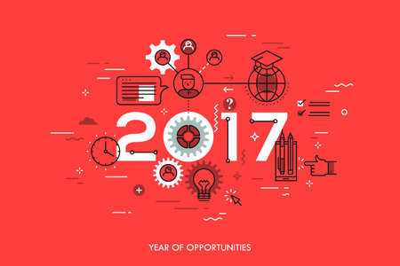 online degree: Infographic concept 2017 year of opportunities Illustration