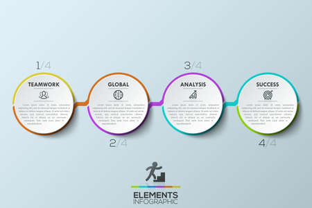Modern infographic design template, 4 connected multicolored circular elements with text boxes