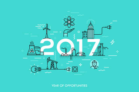 Infographic banner, 2017 - year of opportunities. Trends and predictions in water supply, electric power generation, nuclear plant construction, oil extraction
