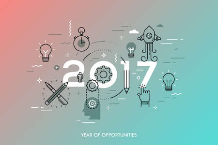 new idea: Infographic concept, 2017 - year of opportunities. New trends and predictions in startups, idea generation, innovations, modern thinking. Plans and prospects