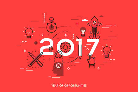 Infographic concept, 2017 - year of opportunities. New trends and predictions in startups, idea generation, innovations, modern thinking. Plans and prospects