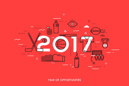 Infographic banner, 2017 - year of opportunities. New trends and prospects in sports championships, sporting events, teams, competitions