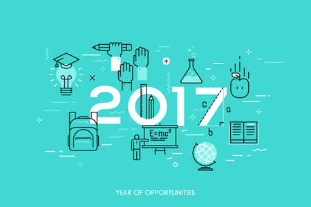 science scientific: Infographic concept, 2017 - year of opportunities. New trends, prospects and predictions in science, scientific studies, schooling system and higher education