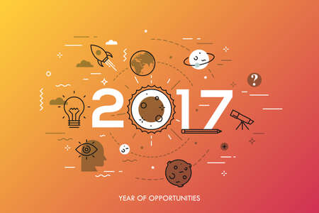 Infographic concept, 2017 - year of opportunities. Trends and prospects in space research and exploration, scientific studies, astronomy, spacecraft launches