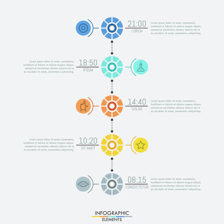 Infographic design layout, 5 multicolored round elements connected with text boxes by dotted lines