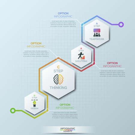 Ungewöhnliche Infographik Design-Vorlage . 4 sechseckige Elemente mit Piktogrammen und Textfeldern Vektorgrafik