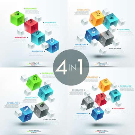 bundle: Set of 4 creative infographic design templates Illustration