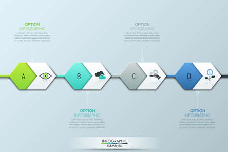 successively: Modern infographic design template. Four successively connected hexagonal elements and text boxes Illustration