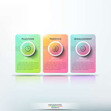 unique characteristics: Modern infographic design template, 3 separate multicolored rectangular cards with pictograms and text boxes