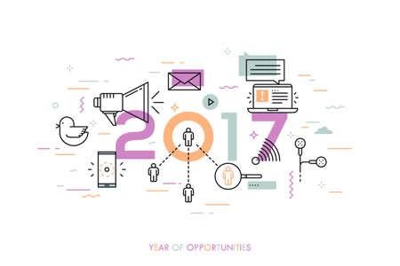 インフォ グラフィック バナー、2017 - 機会の年。傾向、予測、社会的なメディア技術、ネットワーク、モバイル アプリケーション、インターネット