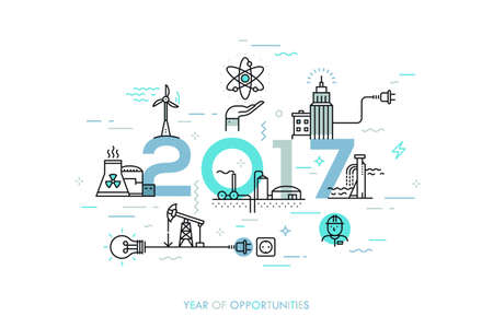 water plants: Infographic banner, 2017 - year of opportunities. Trends and predictions in water supply, electric power generation, nuclear plant construction, oil extraction