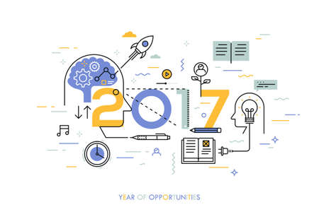 time of the year: Infographic concept, 2017 - year of opportunities. New trends in idea generation, time management, experience exchange, self-education and self-development