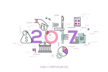 off balance: Infographic concept, 2017 - year of opportunities. New hot trends and predictions in economics, budget planning, money saving, tax and credit debt paying off