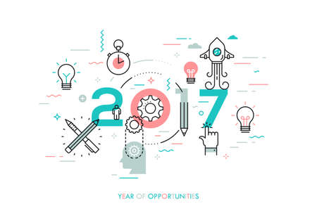 new idea: Infographic concept, 2017 - year of opportunities. New trends and predictions in startups, idea generation, innovations, modern thinking. Plans and prospects. Vector illustration in thin line style.