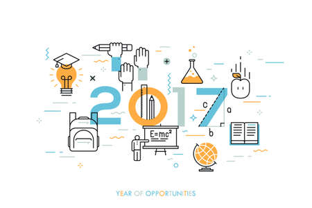 science scientific: Infographic concept, 2017 - year of opportunities. New trends, prospects and predictions in science, scientific studies, schooling system and higher education. Vector illustration in thin line style.