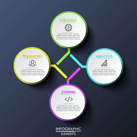 Infographic design layout, circular diagram with 4 multicolored lettered elements connected with center