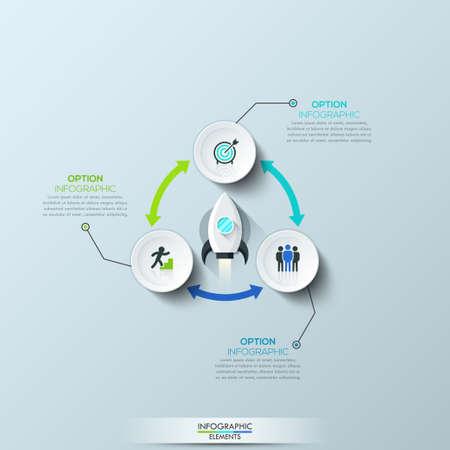 three headed: Infographic design template
