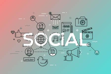 relaciones publicas: Modern vector illustration concept of word social. Vectores
