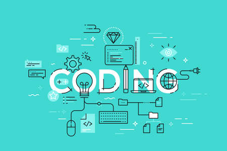Flat Style, Thin Line Banner design of coding