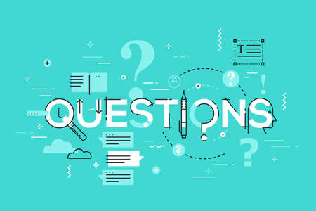 Thin line design concept for questions website banner.