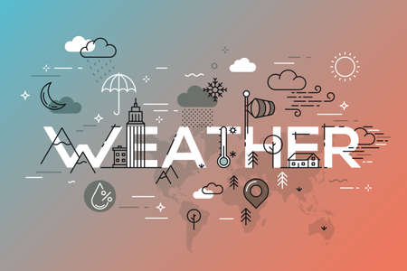 Weather Concept with vector icons and elements. Ilustracja