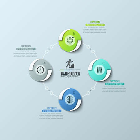 Circular diagram with 4 equal round elements connected by lines and text boxes, modern infographic design template 向量圖像
