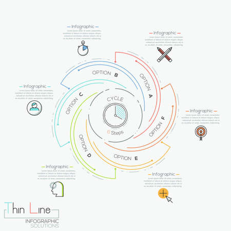 Round infographic design template with 6 spiral multicolored elements